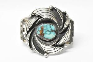 "Silver & Turquoise Native American Bracelet, Hallmarked Loren Begay 5.25"" Long"