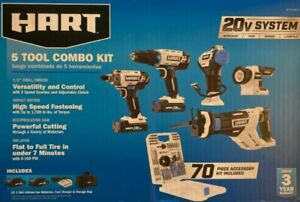 HART 20-Volt 5-Tool Kit with 70-Piece Accessory Set + 2 Lithium-ion Battery NEW