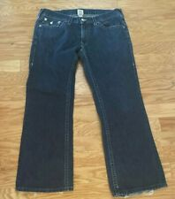 Mens TRUE RELIGION Blue Boot Cut Cotton Jeans Size 38 (40x31) Made USA (Z36)