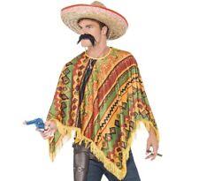 Adult Mexican Fancy Dress Poncho & Tash Set Mexico theme New by Smiffys