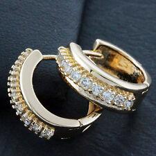 EARRINGS HUGGIE HOOP 18K ROSE G/F GOLD GENUINE DIAMOND SIMULATED DESIGN FS3AN654