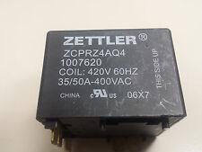 RELAY, ZETTLER, ZCPRZ4AQ4, 1007620 COIL: 420V 60HZ 35/50A-400VAC