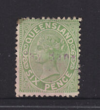 Qld: 1882 2Nd Sideface Qv 6d Green Sg 196 F.Used. Extended P In Pence