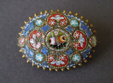 Antique Small Gold-Plated Millefiori Micro Mosaic Brooch 2,7 x 2,0 CM/8,1 G