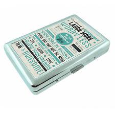 Vintage Poster D20 Silver Cigarette Case Money Card Holder Be Awesome Motivation
