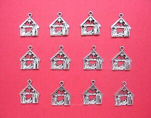 12 pcs Lot SILVERTONE SMALL Christian Christmas NATIVITY MANGER Charms Pendants