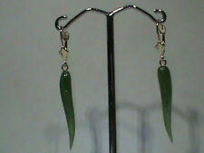 14kt Gold Leverback Earrings Natural Green Jade Italian Horn Finely Shape Drops