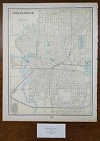 "Vintage 1900 INDIANAPOLIS INDIANA Map 11""x14"" Old Antique Original OLD NORTHSIDE"