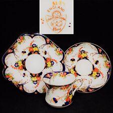 ABJ Grafton & Sons 1930s Imari Style 5287 Vintage English Bone China Trio Set