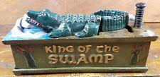 KING OF THE SWAMP ALLIGATOR GATOR SWISHING TAIL AROUND CAST IRON MECHANICAL BANK