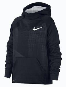 NIKE Therma Fit Poly Fleece Printed Black Grey Sweatshirt Hoodie NEW Youth Sz S
