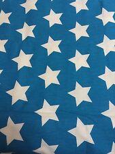 VINTAGE COTTON CANVAS WHITE STAR PRINT BLUE FABRIC PIECE 152 cm W X 1.6 m L