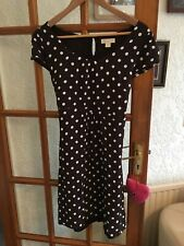 Monsoon Brown And White Spotted Dress Size 14