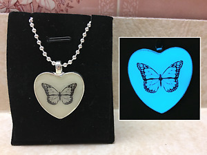 Monarch BUTTERFLY GLOW IN THE DARK Silhouette Pendant Necklace 9 COLORS CHOICES