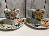 "TABLETOPS ""MARIAM'S GARDEN"" 4 3/8"" HIGH 2 LARGE 12OZ COFFEE MUGS & CREAMER"