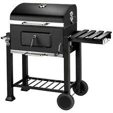 BBQ Barbacoa de Carbón Ahumadora Asador Ruedas Termómetro Negro 115x65x107cm