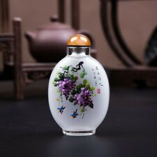 Inner Painting Snuff Bottle Chinese Antique Fragrant Flowers and Beautiful Birds