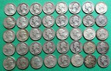 1- FULL MIXED ROLL OF 40 WASHINGTON SILVER QUARTERS. $10.00 FACE VALUE. #15