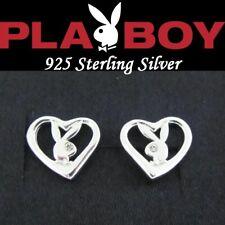 925 Sterling Silver Playboy Earrings Bunny Open Heart Stud y2k BEST FRIENDS DAY