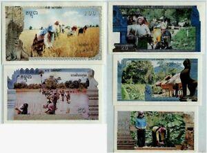 CAMBODIA 5 10 20 50 100 RIELS 1 2 3 4 5 1993-1999 UNC SET KHMER INFLUENCE ANGKOR