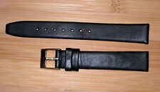 15mm Men's Flat Watch  Band/Strap Black Genuine Leather Gold Buckle Short