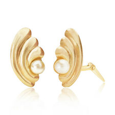 9ct yellow gold 3.5mm pearl arc Andralok stud earrings / Gift box