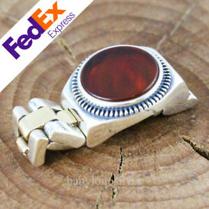 Special Watch Design 925 Sterling Silver Turkish Handmade Agate Stone Men's Ring