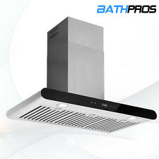 """Black Panel Touch Control 36"""" Wall Mount Range Hood Stove Vent Stainless Steel"""