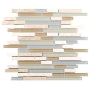 Modern Linear Blue White Yellow Glass Stone Mosaic Tile Backsplash Wall MTO0215