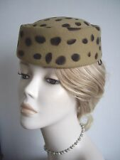 LEOPARD PRINT PILL BOX, COLOUR CAMEL AND BROWN,100% SMOOTH WOOL FELT