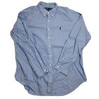 Polo Ralph Lauren Mens Blue Striped Button Down Long Sleeve Shirt Size 2XL