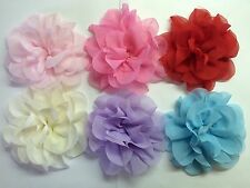 "Wholesale 6 Pcs 4"" Chiffon Flowers No Clips Baby Girl Hair Bow Supplies."