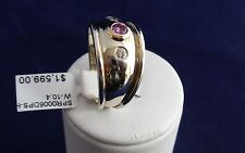 9CT W/GOLD RING,ROSE GOLD BEZEL CENTRE P/SAPP=0.34ct.-TDW=0.16ct.10gr.+VALUATION