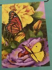 """Small 12 1/2"""" x 18"""" Butterflies Spring Summer Theme Garden Art Flag New Pk"""