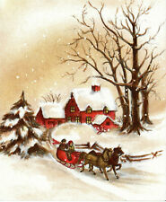 Vintage Hallmark Christmas Card: RED HOUSE AND SLEIGH IN SNOW