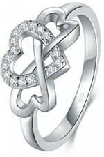 Cubic Zirconia Infinity And Heart 8 Boruo 925 Sterling Silver Ring, High Polish