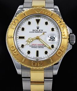 Rolex Yacht-Master 16623 40mm Two Tone 18K Yellow Gold & SS White Dial MINT