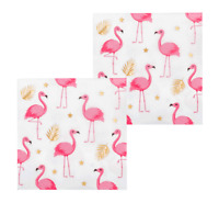 FLAMINGO GOLD FOIL LUNCH NAPKINS LUAU HAWAIIAN PARTY TABLE DECORATION TROPICAL