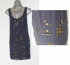 MONSOON Navy Embellished Beaded Cocktail Tunic Dress UK12  EU40 Formal Evening