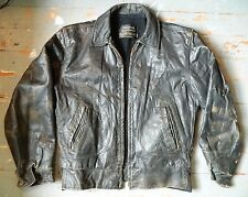 1960's Sears Black Leather Jacket / Oakbrook Sportswear / Size: 38 Reg / Used