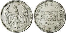 ALLEMAGNE  ,  REPUBLIQUE  DE  WEIMAR ,  3  MARK  ARGENT  1924  F  ,  QUALITÉ