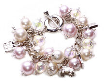 Pearl Power' ladies multicharm bracelet with handbag/car/shoe features (NS5)