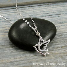 925 Sterling Silver Peace Dove Charm Necklace - Openwork Bird Pendant Jewelry