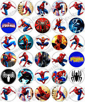 30 x Spiderman Party Collection Edible Rice Wafer Paper Cupcake Toppers