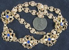Real Nice Vintage 1930's Goldtone Prong Set Sapphire Rhinestone Necklace 15""