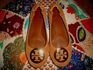 TORY BURCH BROWN SUEDE REVA FLATS SIZE 7.5M