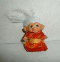 "1960s Vintage 3"" Uneeda Wishnik Troll Doll w Gray Hair In Orange Robe"