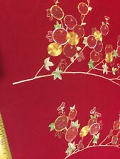 """Pure 100% Silk Organza Hand Embroidery Fabric Remnant 22"""" W 45"""" L Christmas"""