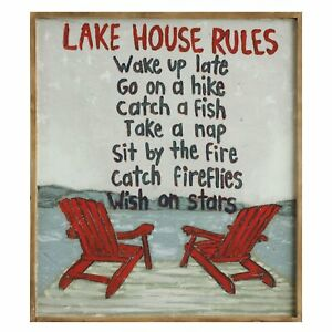 Creative Co-Op Lake House Rules Sign - Adirondack Chair Wooden Wall Plaque