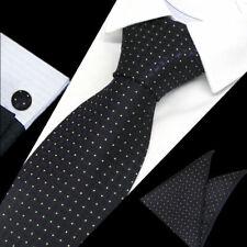 Mens Black Purple White Dot Check Silk Tie Handkerchief Hanky Cufflinks GIFT SET